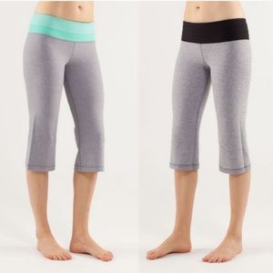 Lululemon Reversible Groove Crops Grey Black mint